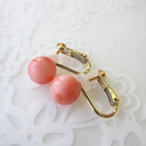 ピンク珊瑚丸玉のイヤリング/(7.5ミリ)/K18/『宝石サンゴ』送料無料