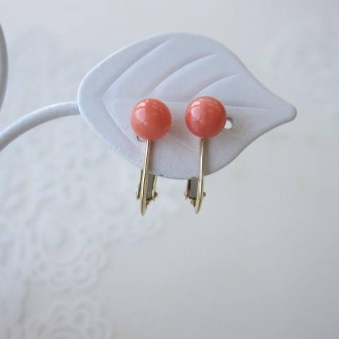 ピンク珊瑚丸玉のイヤリング/(5ミリ)/天然石/K18/『宝石サンゴ』/【送料無料】