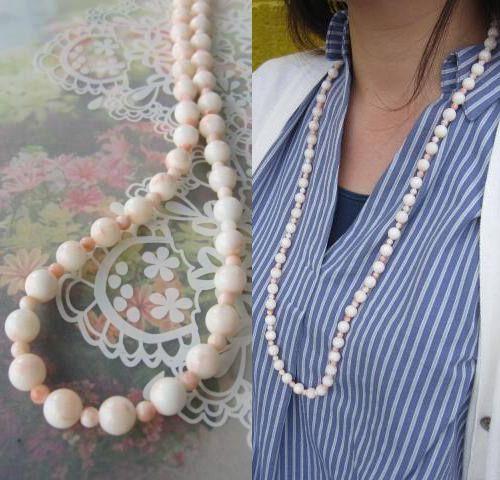 淡いピンク珊瑚のロングネックレス/78センチ/G.SILVER/『宝石サンゴ』