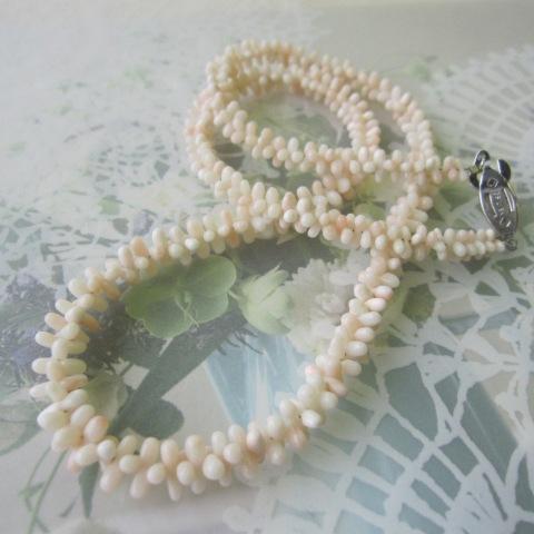 ミッド珊瑚のネックレス/G.SILVER/ダンベル/天然サンゴ・さんご/『宝石珊瑚』