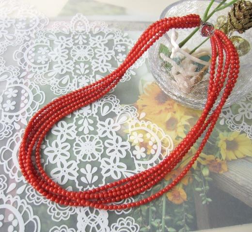 イタリア産赤珊瑚の5連ネックレス/SILVER/47センチ/サルジ/古渡/『宝石サンゴ』