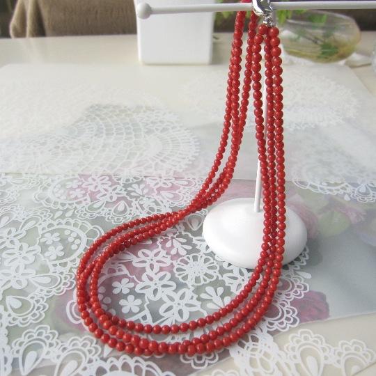 イタリア産赤珊瑚の3連ネックレス/SILVER/47センチ/サルジ/古渡/『宝石サンゴ』