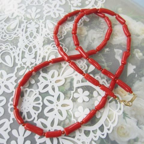 イタリア産赤珊瑚バンブーカットネックレス/K18/サルジ/古渡/地中海/『宝石サンゴ』
