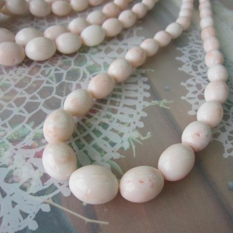 ミッド珊瑚のライスカットネックレス/55センチ/SILVER/『宝石サンゴ』