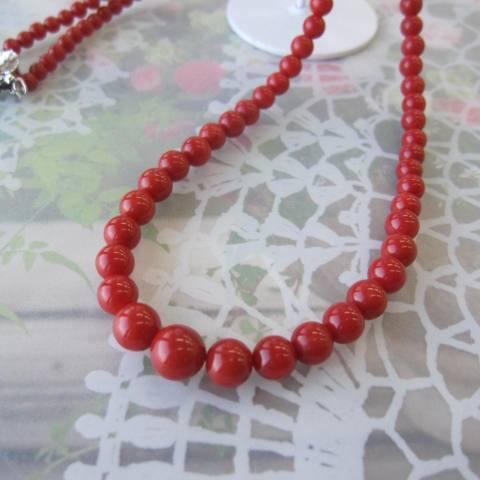 【最高級】イタリア産赤珊瑚のネックレス/センター約8ミリ/52センチ/『宝石サンゴ』/サルジ