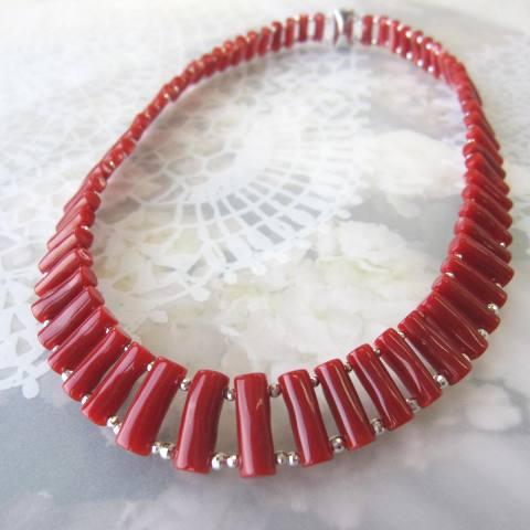 高知産血赤珊瑚の枝ネックレス/SV925/K14WGミラーボール/『宝石サンゴ』