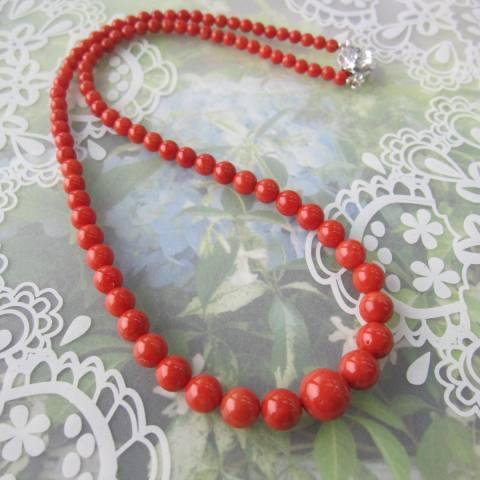 イタリア産赤珊瑚のネックレス/センター約9.8ミリ/47.5センチ/『宝石サンゴ』/サルジ