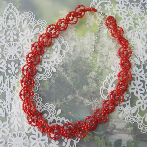 イタリア産赤珊瑚の編みネックレス/真鍮アジャスター/約44センチ/『宝石サンゴ』/サルジ