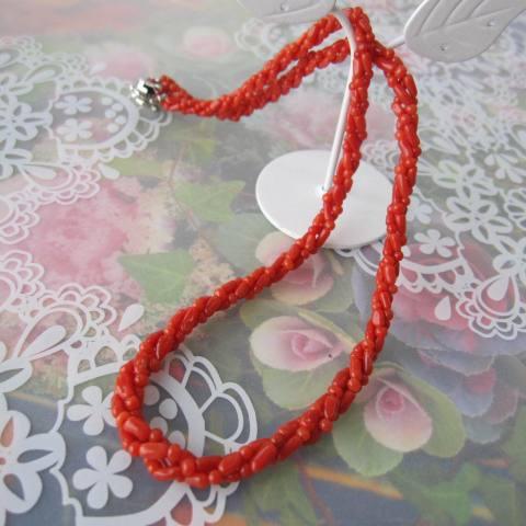 買取 珍しい いよいよ人気ブランド 華やかネックレス イタリア産赤珊瑚の3連ねじりネックレス 宝石サンゴ サルジ SILVER
