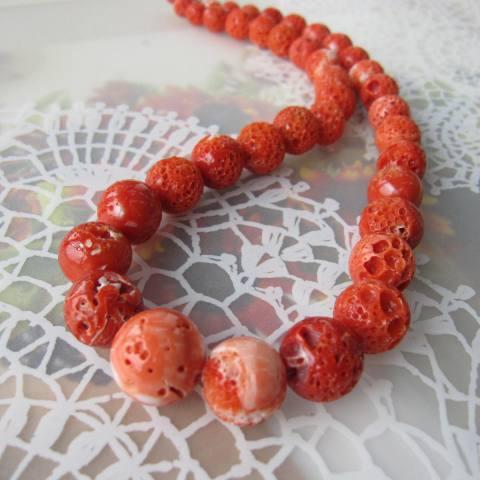 高知産赤・桃珊瑚のナチュラルなす玉ネックレス(46cm)/SILVER/『宝石サンゴ』