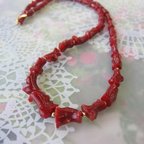 高知産血赤珊瑚枝のネックレス/53センチ/K18/『宝石サンゴ』/K18ミラーボール