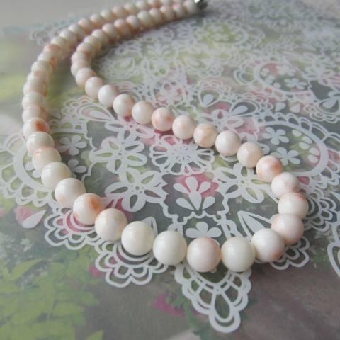 淡いピンク珊瑚のネックレス/(9ミリ)/54センチ/G.SILVER/『宝石サンゴ』