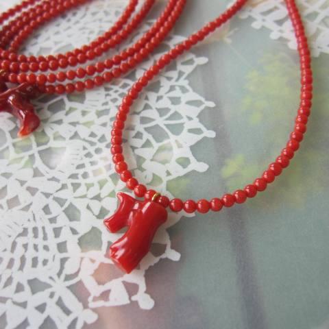 高知産血赤(ちあか)枝珊瑚のネックレス/K18/イタリア/サルジ/『宝石サンゴ』