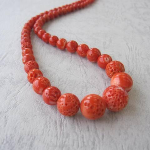 高知産赤珊瑚のナチュラルなす玉ネックレス/(センター12.6ミリ)/G.SILVER/『宝石サンゴ』