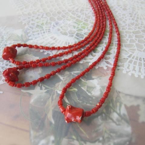 イタリア産赤珊瑚デザインネックレス/52センチ/G.SILVER/『宝石サンゴ』