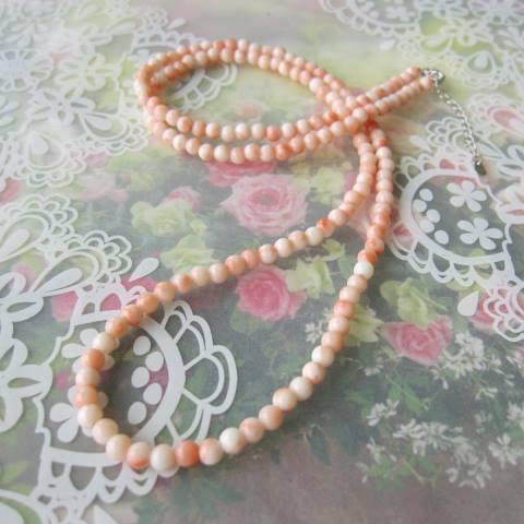 ピンク珊瑚のネックレス/約4.2ミリ/約66センチ/SILVERアジャスター/『宝石サンゴ』