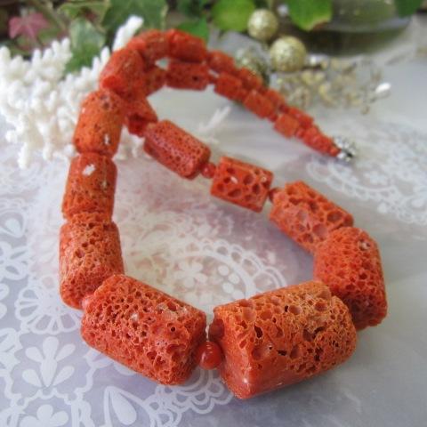 高知産赤珊瑚のナチュラルなす玉ネックレス(56cm)/SILVER/サンゴ