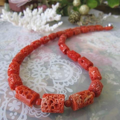 高知産赤珊瑚のナチュラルなす玉ネックレス(57cm)/SILVER/サンゴ