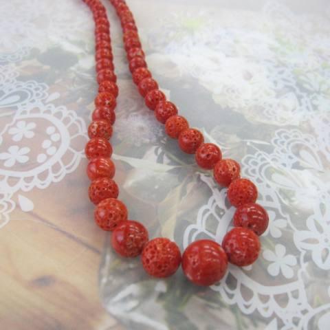 高知産赤珊瑚のナチュラルなす玉ネックレス/(センター12.8ミリ)/SILVER/『宝石サンゴ』