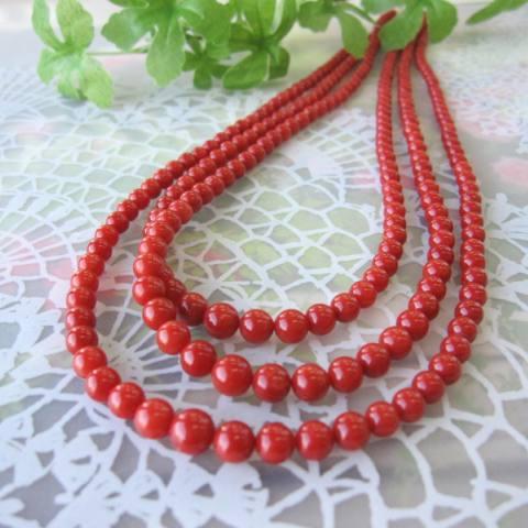 イタリア産赤珊瑚の3連ネックレス/K14/43cm『宝石サンゴ』/サルジ