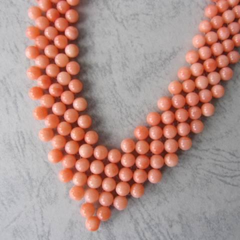 手の込んだ逸品 ピンク珊瑚の編みネックレス 本物 供え 宝石サンゴ G.SILVER
