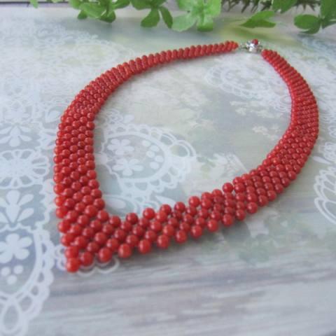 手の込んだ逸品 イタリア産赤珊瑚の編みネックレス G.SILVER 人気の定番 ☆国内最安値に挑戦☆ サルジ 宝石サンゴ