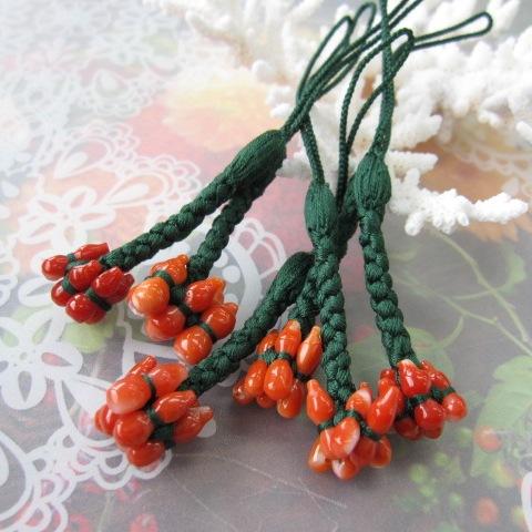 明るい赤珊瑚の 無病息災の根付け 六瓢箪/根付/帯飾り/和装