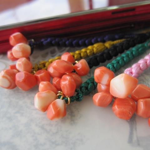 桃珊瑚の柿の根付け/ 『宝石サンゴ』 かき/ パワーストーン