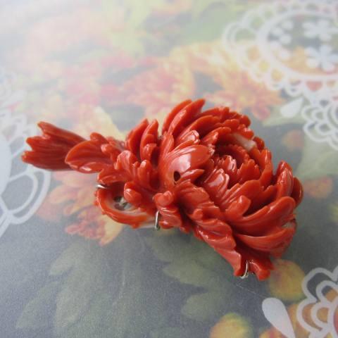 【豪華】桃珊瑚牡丹の花の帯留め/帯留/着物/和装小物『宝石サンゴ』