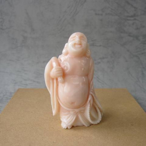ピンク珊瑚布袋さまの彫り・立体・置物/七福神/ほてい/『宝石サンゴ』