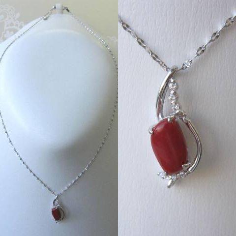 高知産血赤珊瑚のK18WGデザインペンダント/ダイヤモンド0.05ct/スライドチェーン/『宝石サンゴ』