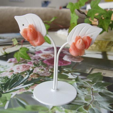 ピンク珊瑚大輪の薔薇の花ピアス/K18/天然さんご/『宝石サンゴ』