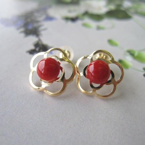 高知産赤珊瑚のカメリアモチーフピアス./K18/椿/『宝石サンゴ』