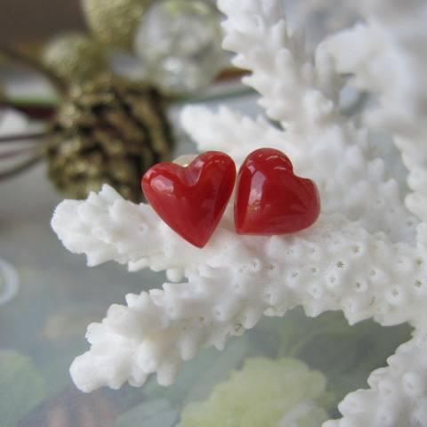 高知産血赤珊瑚ハートのピアス/K18/直結/天然/『宝石サンゴ』