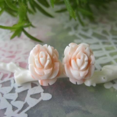 ピンク珊瑚の薔薇の花のピアス/直結/K14WG/バラ・ばら/『宝石サンゴ』