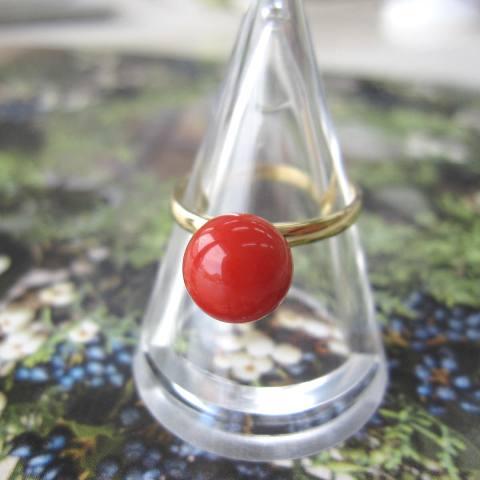 高知産赤珊瑚の豪華な大粒リング/(8ミリ玉)/指輪/K18/『宝石サンゴ』