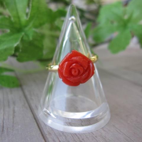 高知産赤珊瑚の美しい薔薇の花のフリーリング・指輪(10ミリ)/『宝石サンゴ』