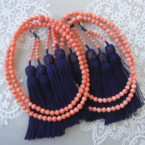 ピンク珊瑚の数珠(念珠)(真言宗)・二輪/(約6ミリ)/『宝石サンゴ』
