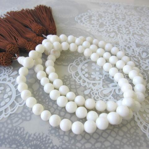 白珊瑚の数珠(念珠)(約9ミリ)/天然本珊瑚/葬儀/法要/略式/人絹