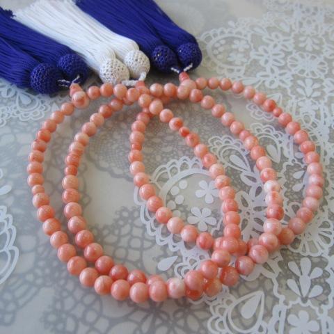 ピンク珊瑚の数珠(念珠)(約6.2ミリ)/天然本珊瑚/葬儀/法要/略式/女性用