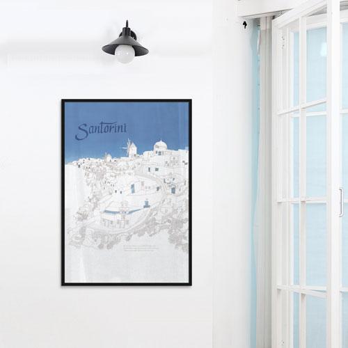 ポスター 風景 アルミアートフレーム 【サントリーニ452x649mm】 世界の都市をおしゃれにデザインしたインテリアポスター!カフェ風 プリント サンサンフー ※アルミ製フレーム付