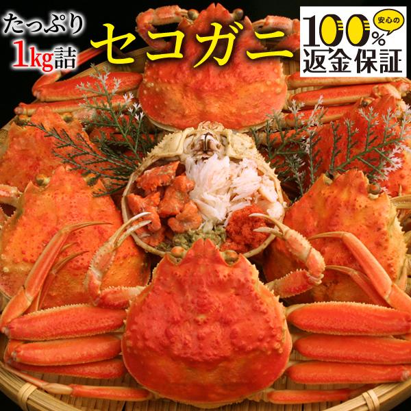 【返金保証付】蒸し・茹で・生から選べる セコガニ(親がに/せいこがに/せこがに)約1kg詰(5〜8枚入) 訳あり 日本海…