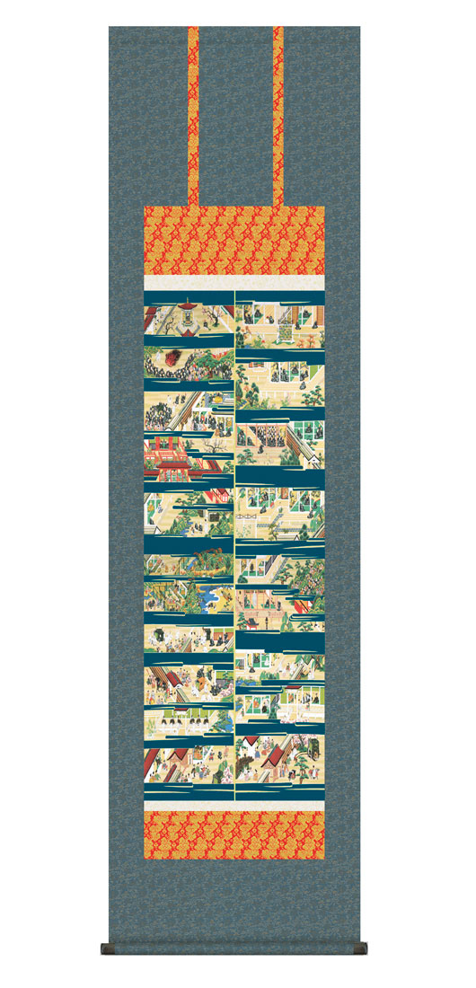 【掛け軸仏画 親鸞聖人御絵伝(山村 観峰)】幅44.5cm×高さ175cm【YDKG-k】【smtb-k】【KB】