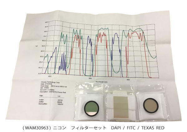 DAPI / FITC / TEXAS RED フィルターWAM30963( 新古品 N001 )