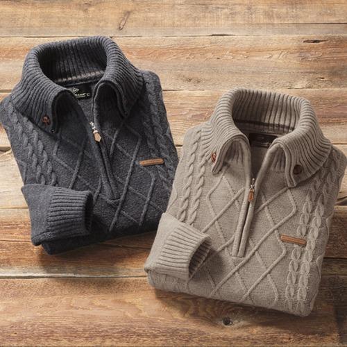 フレンドリー ダンロップ・モータースポーツ ウール混ケーブル柄ジップセーター 2色組 957306 1セット(2枚:2色×各1枚)