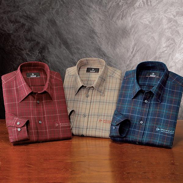 フレンドリー ダンロップ・モータースポーツ やわらかチェック柄シャツ 957307 1セット(3枚:3色×各1枚)