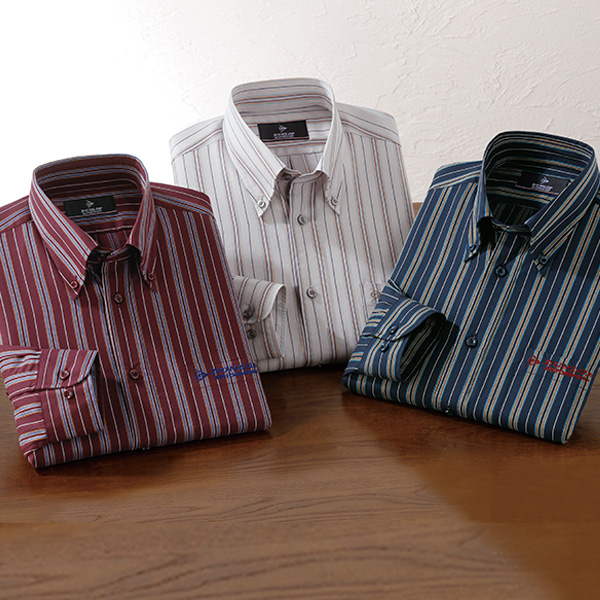 フレンドリー ダンロップ・モータースポーツ こだわり柄のストライプシャツ 3色組 439013 1セット(3枚:3色×各1枚)