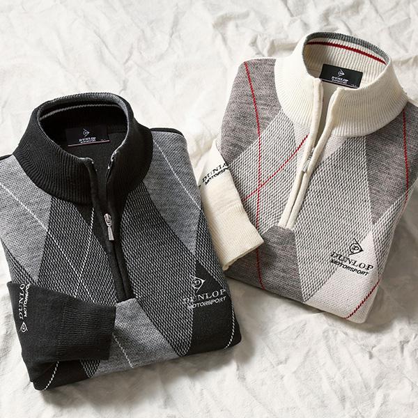 フレンドリー ダンロップ・モータースポーツ アーガイル柄ジップセーター 2色組 957459 1セット(2枚:2色×各1枚)