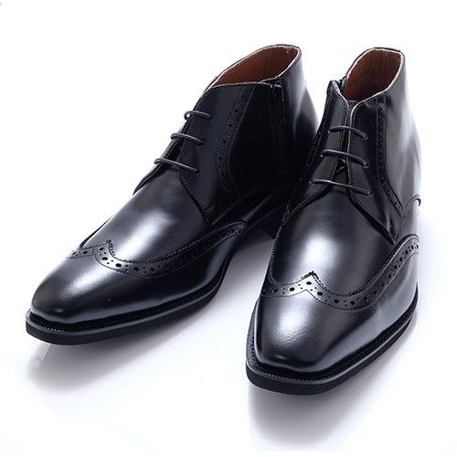 北嶋製靴 牛革ウイングチップロングノーズ 6cmヒールアップシューズ 1302 1足