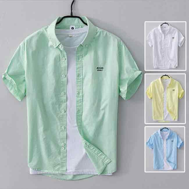 カジュアルシャツ メンズ 当店限定販売 シャツ 半袖 トップス ブラウス 夏物 35%OFF カジュアル ワークシャツ ビジネスシャツ 半袖シャツ ブルー 格好いい ビジネス 無地 グリーン イエロー ホワイト シンプル